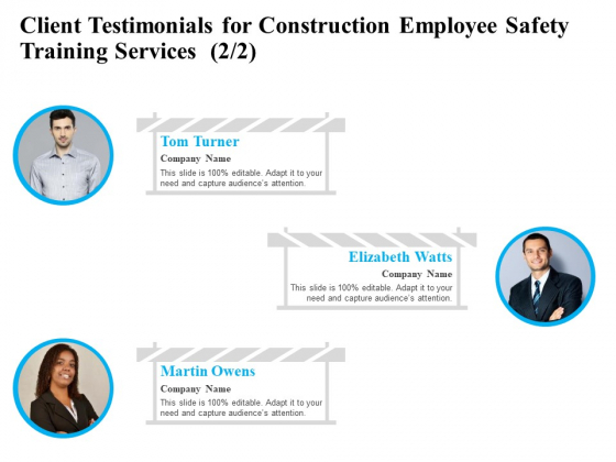 Employee Safety Health Training Program Client Testimonials For Construction Training Services Designs PDF