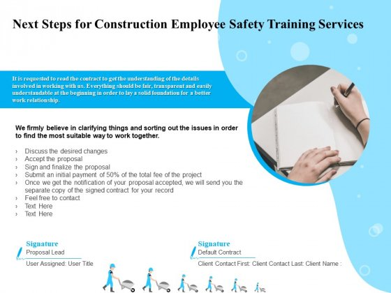 Employee Safety Health Training Program Next Steps For Construction Employee Training Services Sample PDF