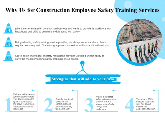 Employee Safety Health Training Program Why Us For Construction Employee Safety Services Themes PDF