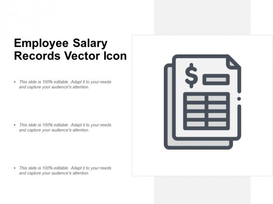 Employee Salary Records Vector Icon Ppt PowerPoint Presentation Outline