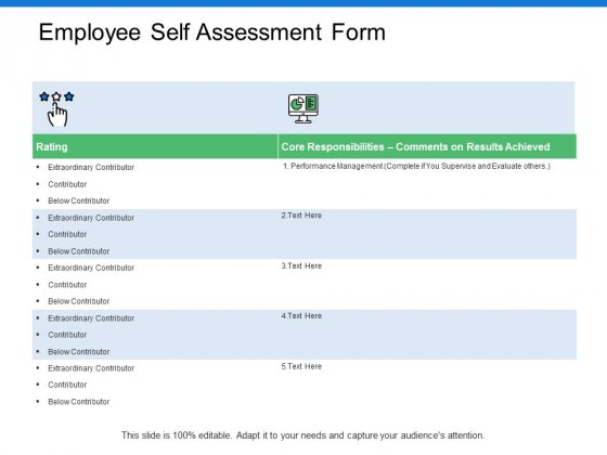 Employee Self Assessment Form Ppt PowerPoint Presentation