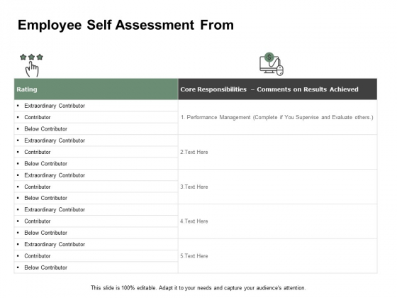 Employee Self Assessment From Ppt PowerPoint Presentation