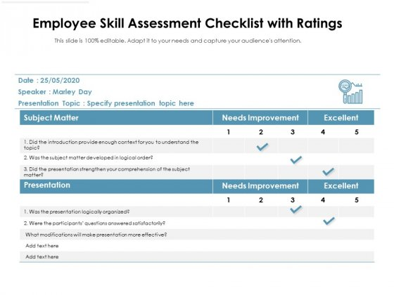 Employee Skill Assessment Checklist With Ratings Ppt PowerPoint Presentation Inspiration Templates PDF