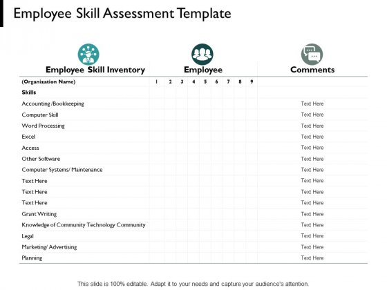 Employee Skill Assessment Template Knowledge Of Community