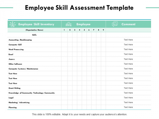 Employee Skill Assessment Template Ppt PowerPoint Presentation Icon Influencers