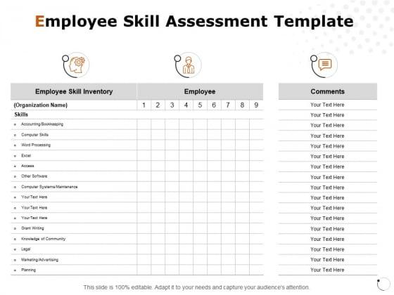Employee Skill Assessment Template Ppt PowerPoint Presentation Slides Graphics Tutorials