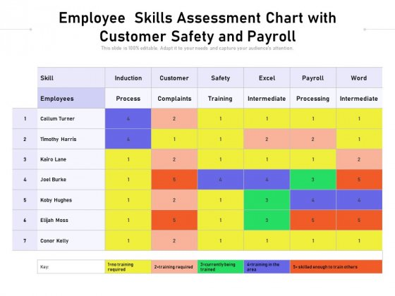 Employee Skills Assessment Chart With Customer Safety And Payroll Ppt PowerPoint Presentation Show Example File PDF