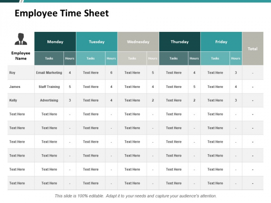 Employee Time Sheet Ppt PowerPoint Presentation Professional Format Ideas