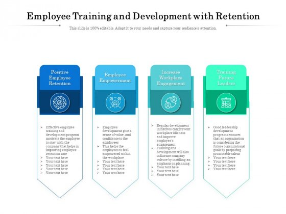 Employee Training And Development With Retention Ppt PowerPoint Presentation Gallery Icons PDF