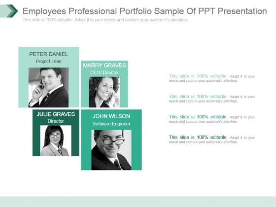 Employees Professional Portfolio Sample Of Ppt Presentation