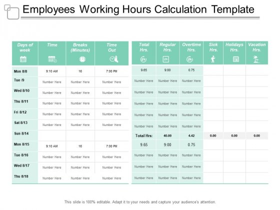 Employees Working Hours Calculation Template Ppt PowerPoint Presentation Infographic Template Graphics Pictures