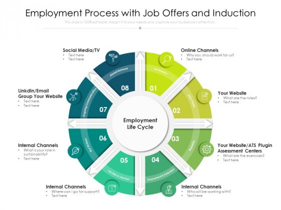 Employment Process With Job Offers And Induction Ppt PowerPoint Presentation Gallery Example Introduction PDF