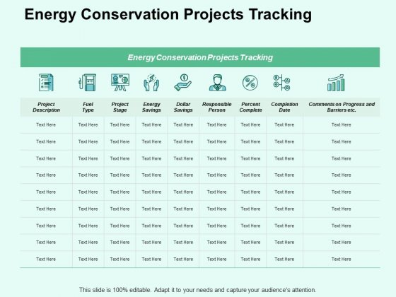 Energy Conservation Projects Tracking Ppt PowerPoint Presentation Show Guidelines