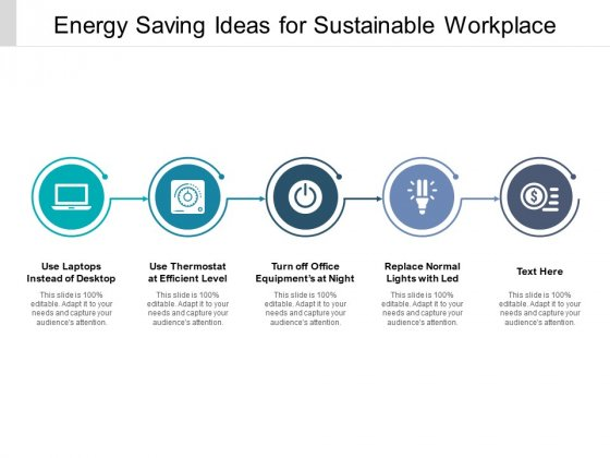Energy Saving Ideas For Sustainable Workplace Ppt PowerPoint Presentation Professional Information