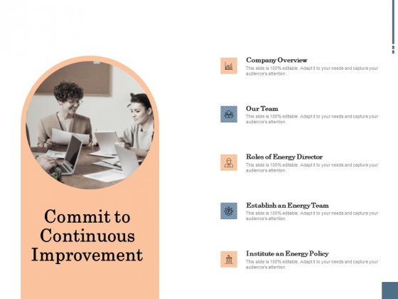 Energy Tracking Device Commit To Continuous Improvement Ppt PowerPoint Presentation Professional Example PDF