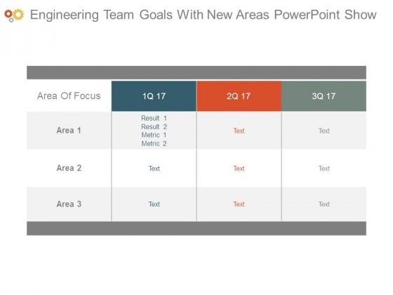 Engineering Team Goals With New Areas Powerpoint Show
