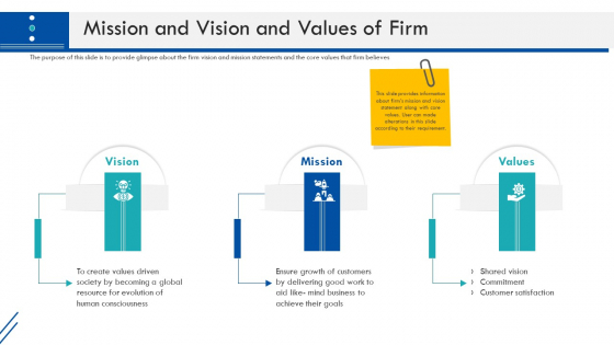 Enterprise Handbook Mission And Vision And Values Of Firm Ppt Ideas Guidelines PDF