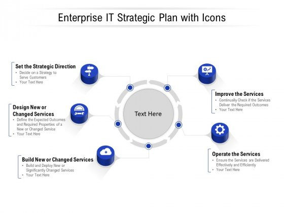 Enterprise IT Strategic Plan With Icons Ppt PowerPoint Presentation Portfolio Graphics Example