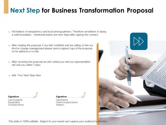 Enterprise Revamping Next Step For Business Transformation Proposal Ppt Show Backgrounds PDF