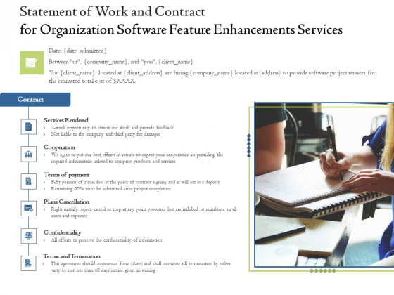 Enterprise Software Development Service Statement Of Work And Contract For Organization Feature Enhancements Topics PDF