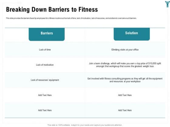 Enterprise Wellbeing Breaking Down Barriers To Fitness Portrait PDF