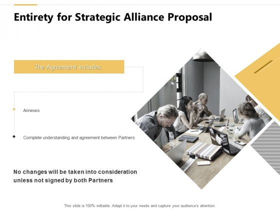 Entirety For Strategic Alliance Proposal Teamwork Ppt PowerPoint Presentation Show Graphics