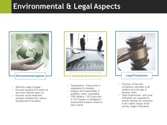 Environmental And Legal Aspects Ppt PowerPoint Presentation Professional Diagrams