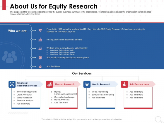 Equity Analysis Project About Us For Equity Research Ppt PowerPoint Presentation Slides Format Ideas PDF