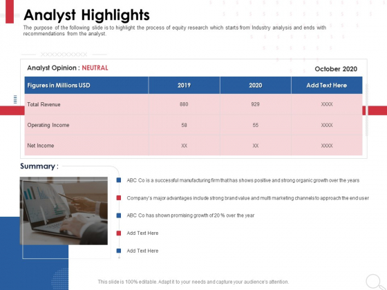 Equity Analysis Project Analyst Highlights Ppt PowerPoint Presentation Professional Guidelines PDF