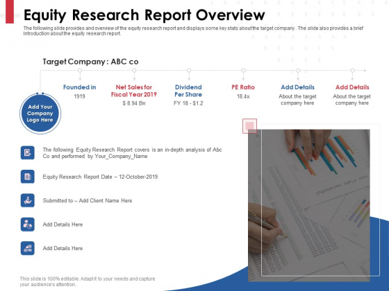 Equity Analysis Project Equity Research Report Overview Ppt PowerPoint Presentation Gallery Icon PDF