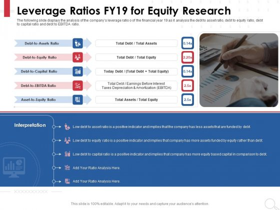 Equity Analysis Project Leverage Ratios FY19 For Equity Research Ppt PowerPoint Presentation Ideas Slide Download PDF