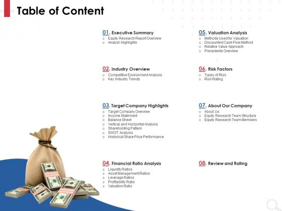 Equity Analysis Project Table Of Content Ppt PowerPoint Presentation Infographic Template Example Introduction PDF