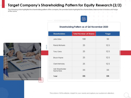 Equity Analysis Project Target Companys Shareholding Pattern For Equity Research Ppt PowerPoint Presentation Icon Shapes PDF