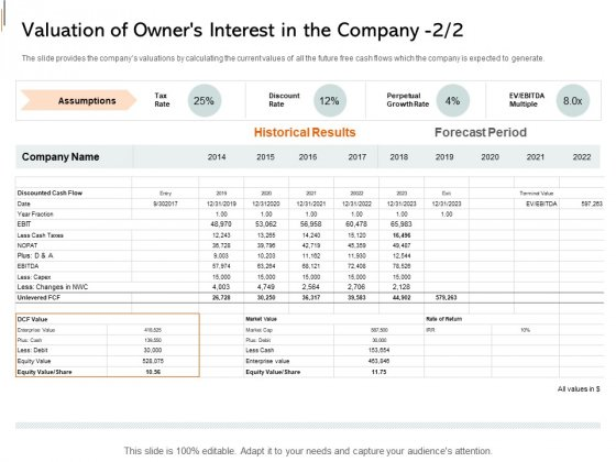Equity_Crowd_Investing_Valuation_Of_Owners_Interest_In_The_Company_Assumptions_Demonstration_PDF_Slide_1
