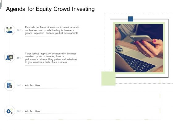 Equity Crowdfunding Pitch Deck Agenda For Equity Crowd Investing Ppt Infographics Graphics PDF