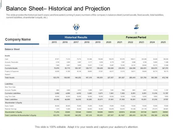Equity Crowdfunding Pitch Deck Balance Sheet Historical And Projection Infographics PDF