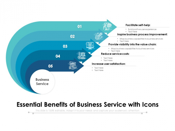 Essential Benefits Of Business Service With Icons Ppt PowerPoint Presentation File Summary PDF