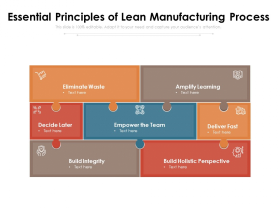 Essential Principles Of Lean Manufacturing Process Ppt PowerPoint Presentation Infographic Template Brochure PDF