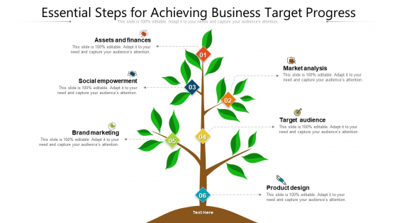 Essential Steps For Achieving Business Target Progress Ppt PowerPoint Presentation Gallery Ideas PDF