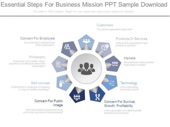 Essential Steps For Business Mission Ppt Sample Download