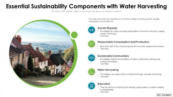 Essential Sustainability Components With Water Harvesting Ppt PowerPoint Presentation File Clipart Images PDF