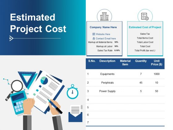 Estimated Project Cost Ppt PowerPoint Presentation Show Microsoft