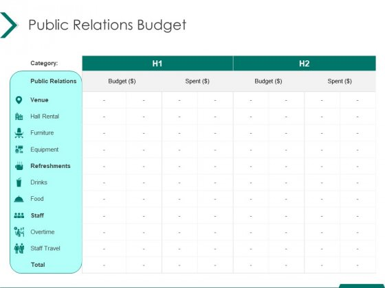 Estimating Marketing Budget Public Relations Budget Drinks Ppt Icon Infographic Template PDF