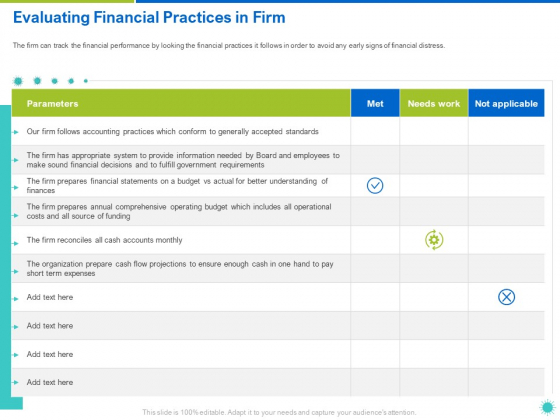 Evaluating Financial Practices In Firm Ppt Show Background PDF