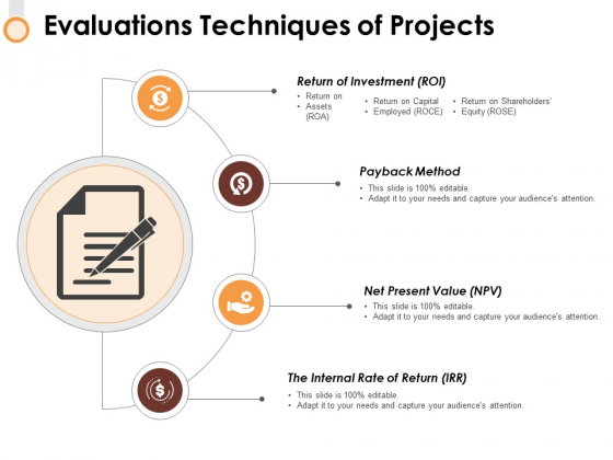 Evaluations Techniques Of Projects Ppt PowerPoint Presentation Icon Example