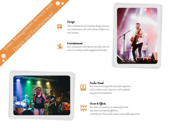 Event Management Services With Design And Entertainment Ppt PowerPoint Presentation Gallery Example Introduction PDF