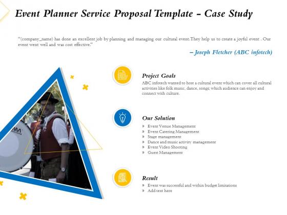 Event Planner Service Proposal Template Case Study Ppt Slides Display PDF