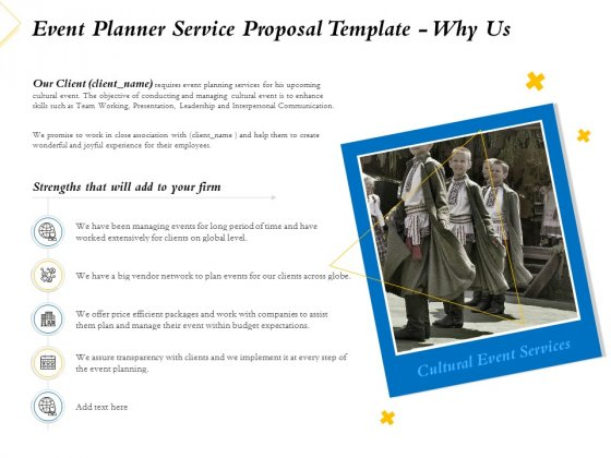 Event Planner Service Proposal Template Why Us Ppt Summary Example Introduction PDF