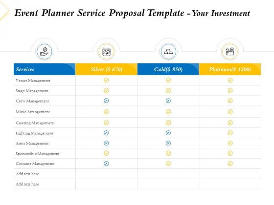 Event Planner Service Proposal Template Your Investment Ppt Model Ideas PDF