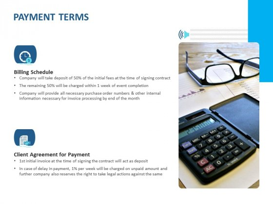 Event Time Announcer Payment Terms Ppt Layouts Grid PDF